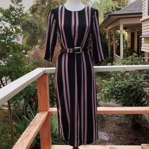 ASOS Striped Long Sleeve Midi Dress (S)